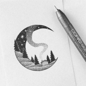 нарисованные картинки гелевой ручкой черной 013