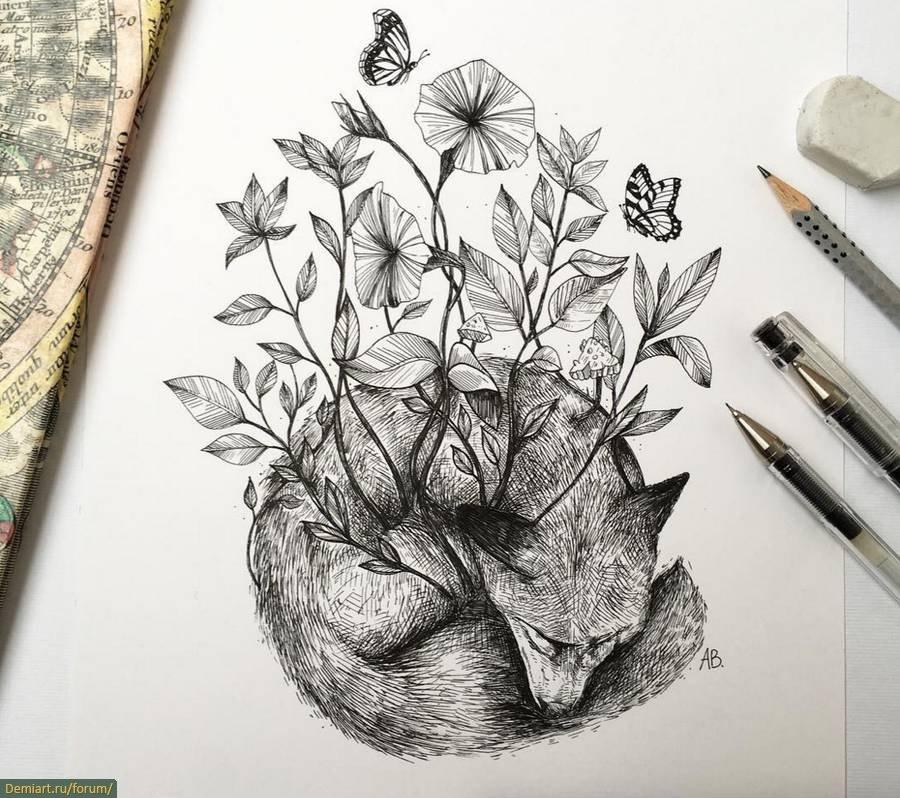нарисованные картинки гелевой ручкой черной 014