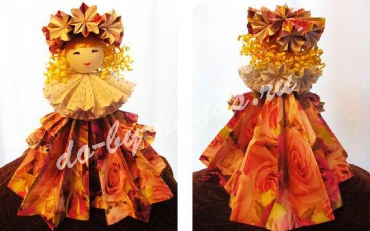 оригами из бумаги для кукол 019