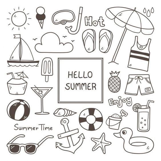 рисунки лето для срисовки 018