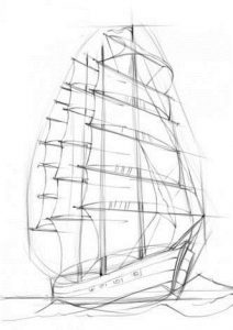 рисунок карандашом парусник 015
