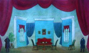 рисунок сцена с декорациями 018