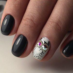 сова на ногтях рисунок 007