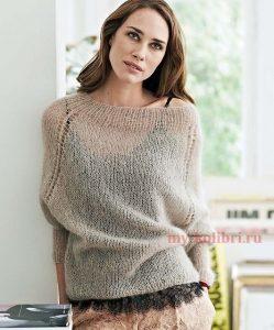 спицами мохеровый свитер 012