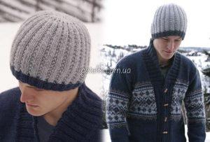 шапки вязание мужские 011