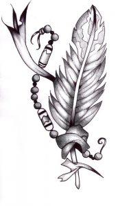 эскизы тату перья 001