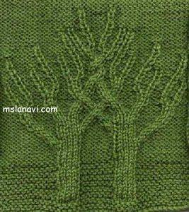 Вязаное спицами дерево 003
