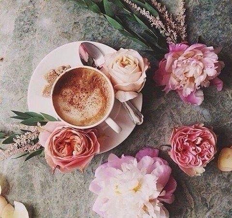 Доброе утро открытки кофе с цветами 013