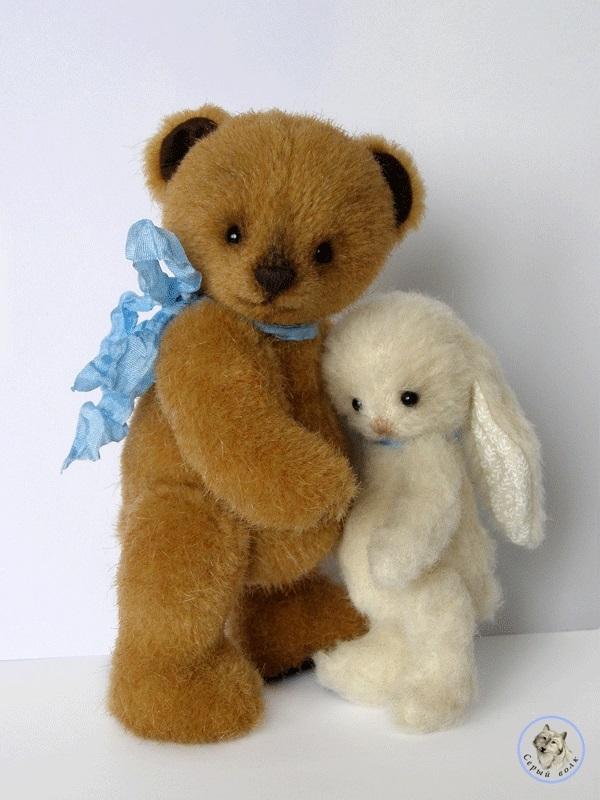 Открытки медвежонок и зайчонок