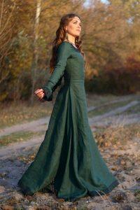 Зеленое средневековое платье 016