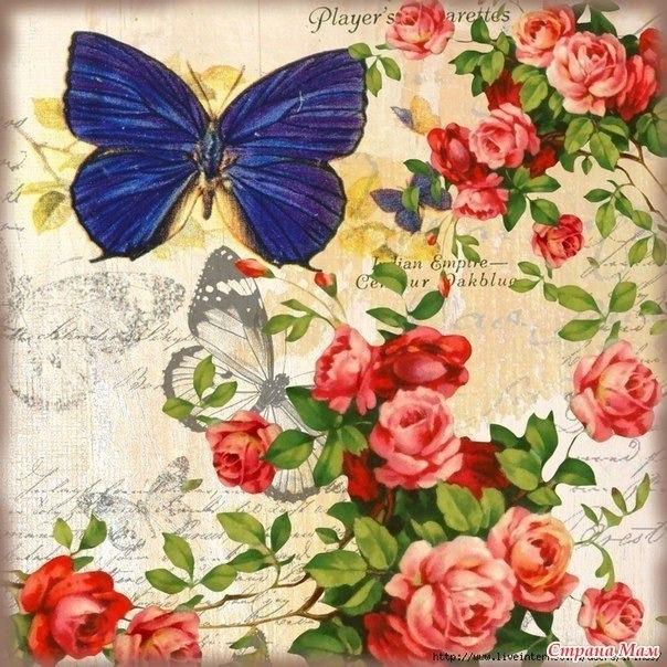 Картинки винтажные бабочки для декупажа 016