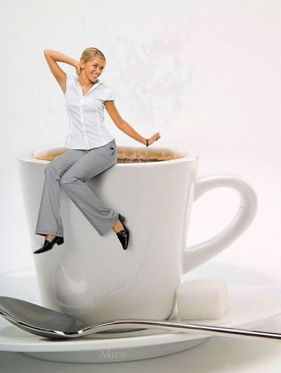 Картинки девушка утром с кофе 020