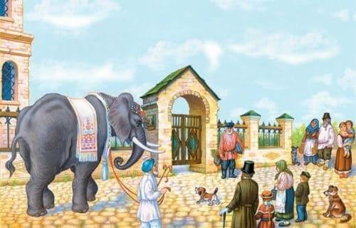 Картинки иллюстрации к басне крылова слон и моська 006