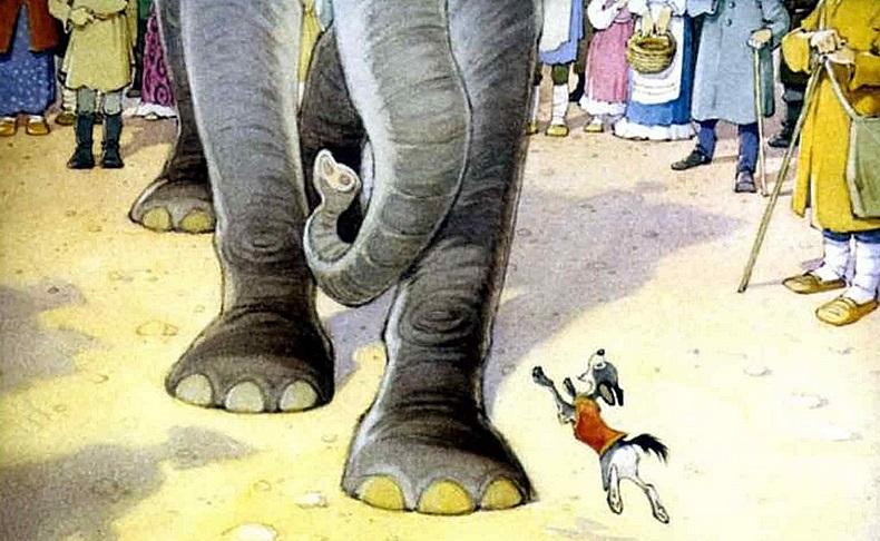 Картинки иллюстрации к басне крылова слон и моська 020