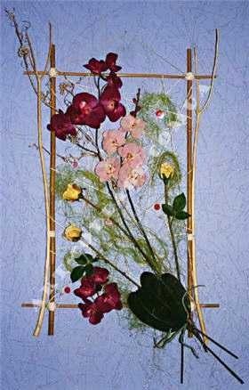 Картины своими руками из искусственных фруктов и цветов 002