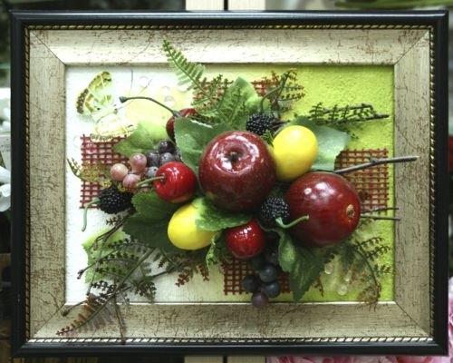 Картины своими руками из искусственных фруктов и цветов 008