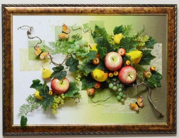 Картины своими руками из искусственных фруктов и цветов 014