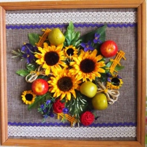 Картины своими руками из искусственных фруктов и цветов 015