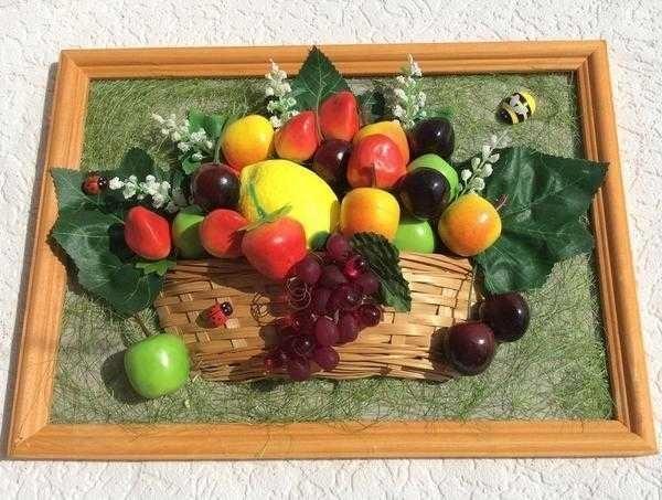 Картины своими руками из искусственных фруктов и цветов 017