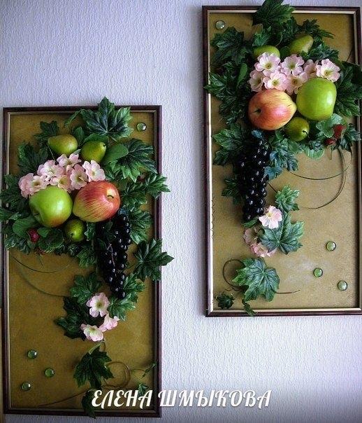 Картины своими руками из искусственных фруктов и цветов 023