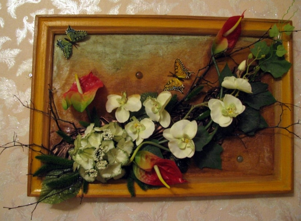 Картины своими руками из искусственных фруктов и цветов 025