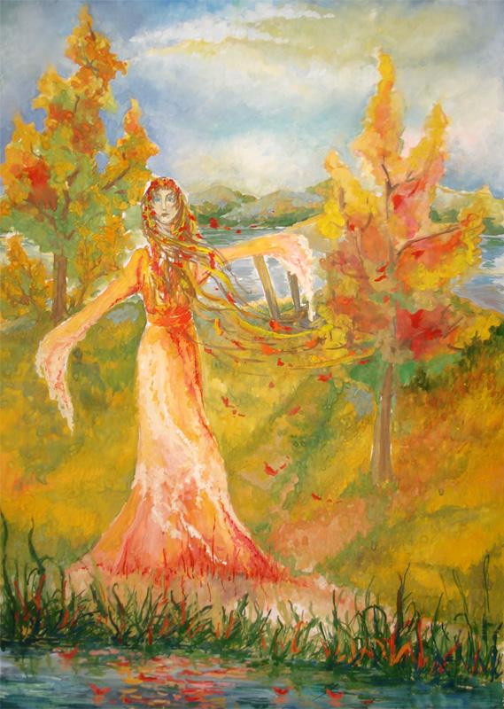 Красивый рисунок осени в виде девушки для детей (10)
