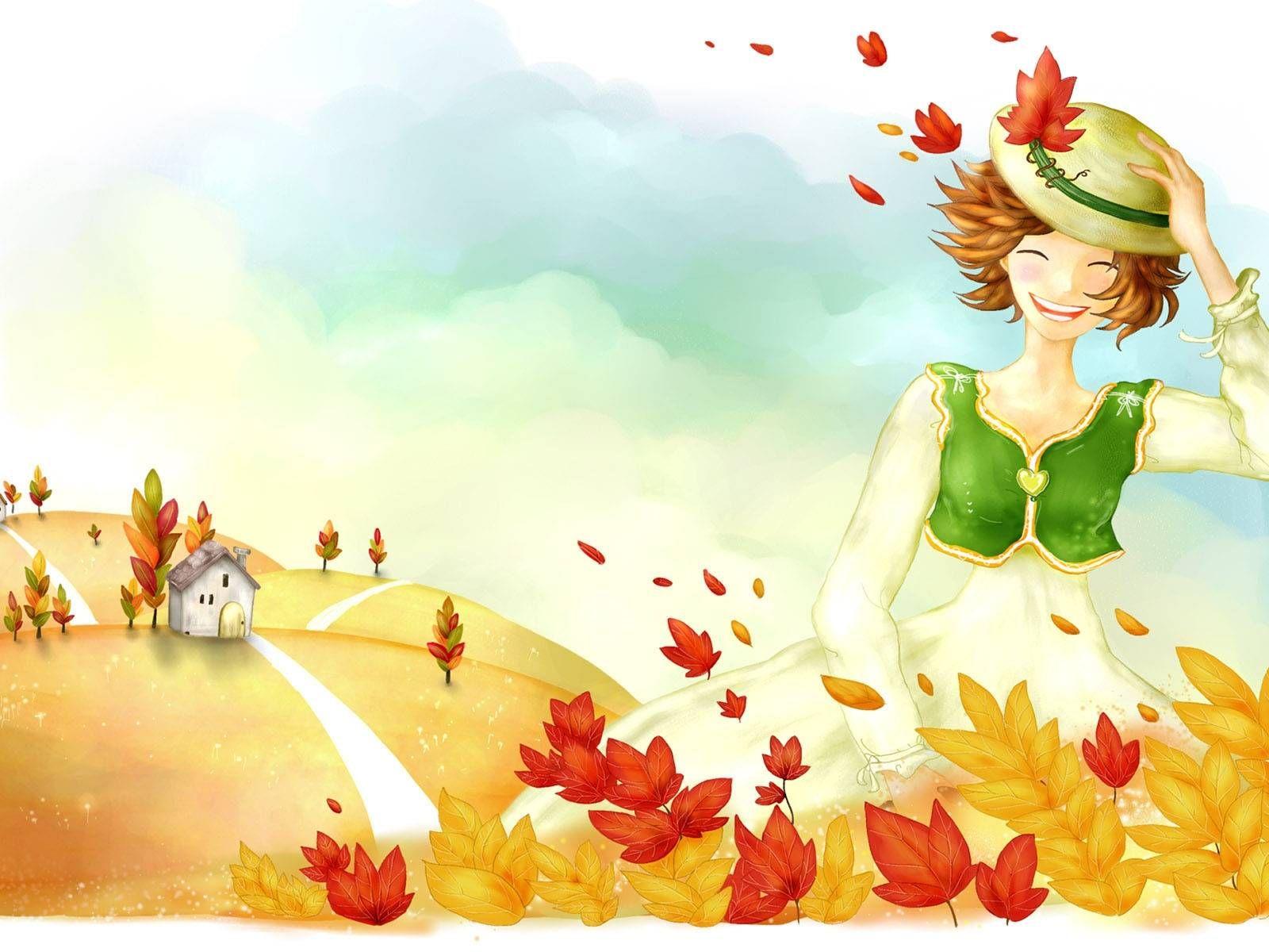 Красивый рисунок осени в виде девушки для детей (11)
