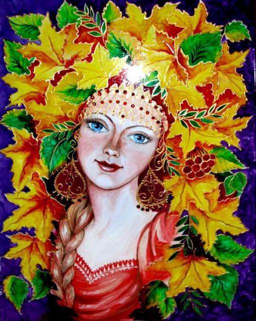 Красивый рисунок осени в виде девушки для детей (14)