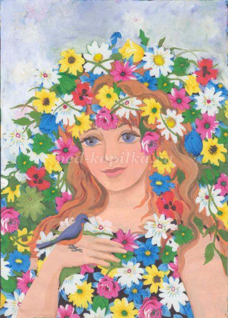 Красивый рисунок осени в виде девушки для детей (16)
