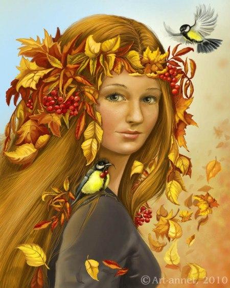 Красивый рисунок осени в виде девушки для детей (17)