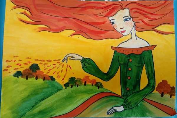 Красивый рисунок осени в виде девушки для детей (4)