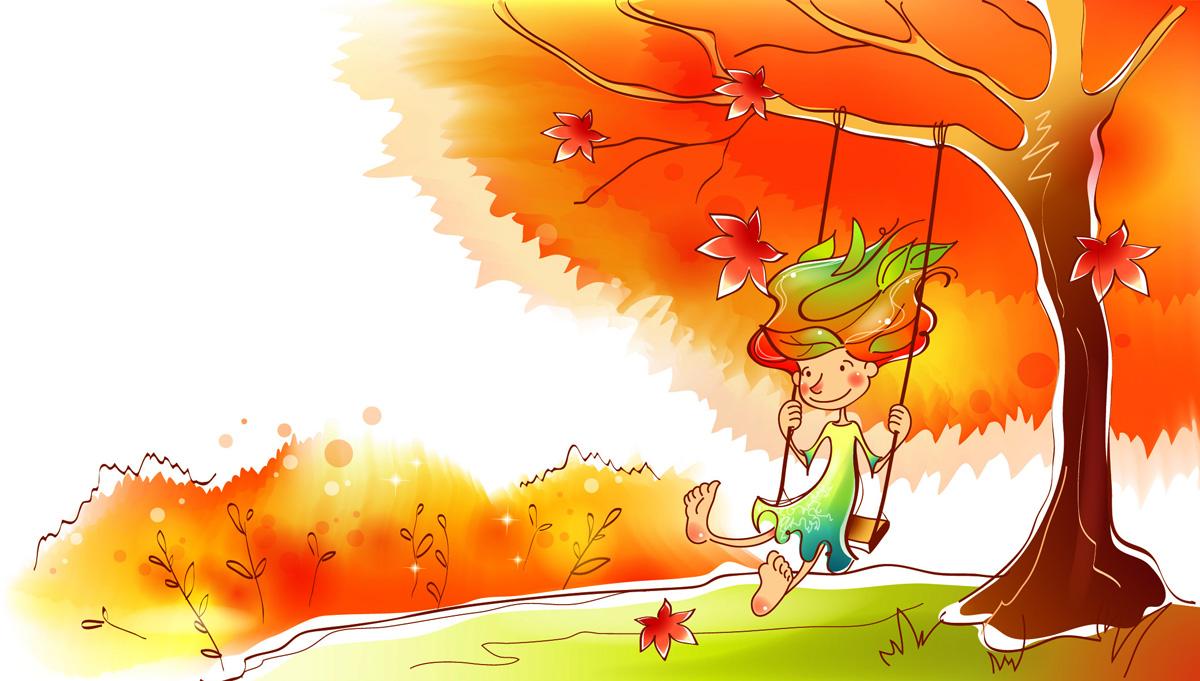 Красивый рисунок осени в виде девушки для детей (9)