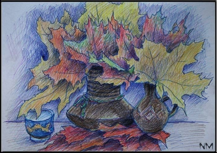 Натюрморт карандашом на тему дары осени 024
