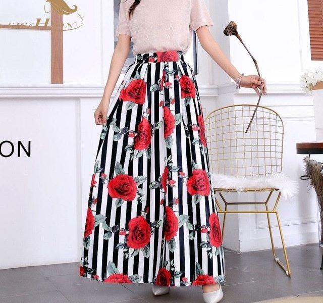 Полосатая длинная юбка 017
