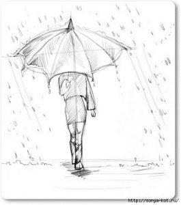 Рисунок девочки с зонтом 013