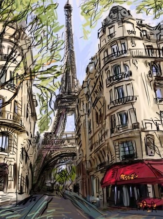Рисунок парижа карандашом 017