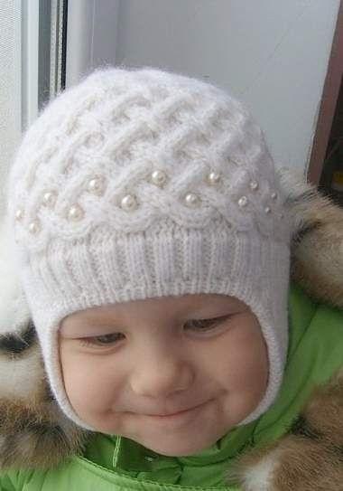 Схема вязания спицами детской шапки 002