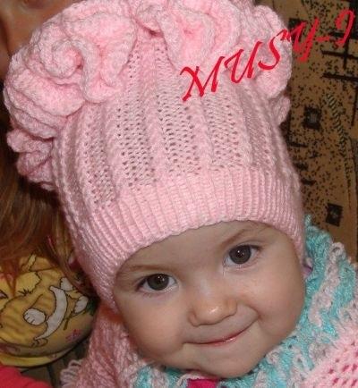 Схема вязания спицами детской шапки 007