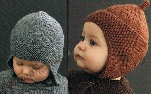 Схема вязания спицами детской шапки 008