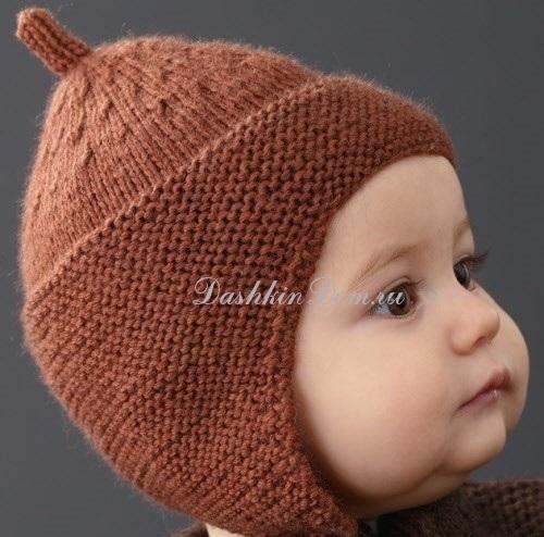 Схема вязания спицами детской шапки 013