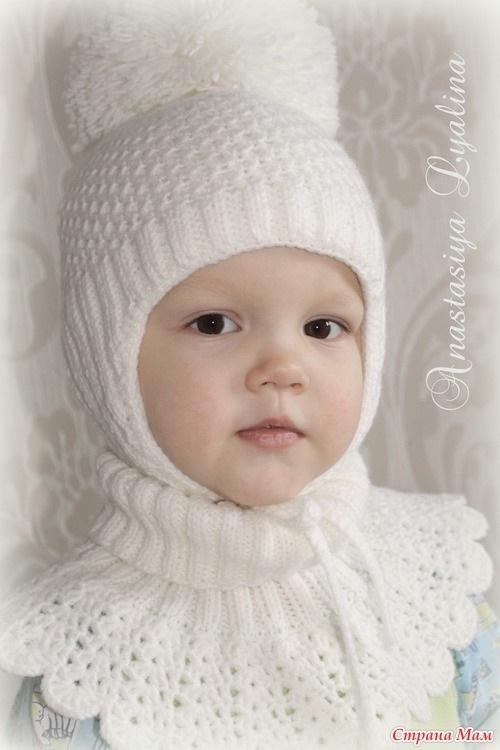 Схема вязания спицами детской шапки 014