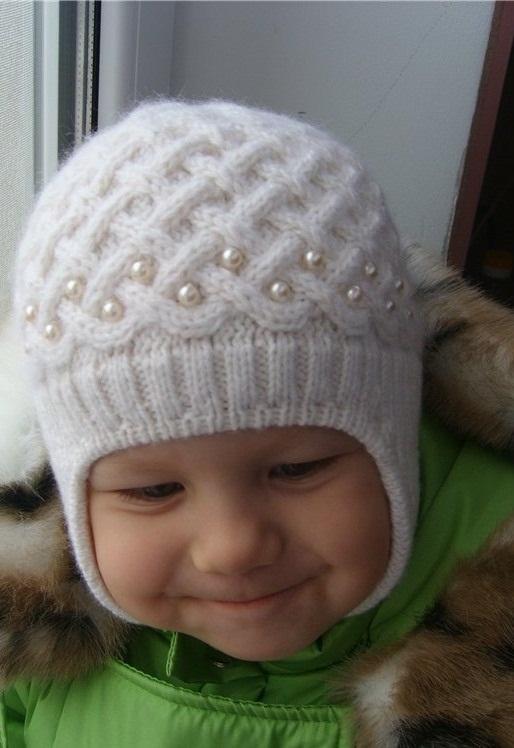Схема вязания спицами детской шапки 016