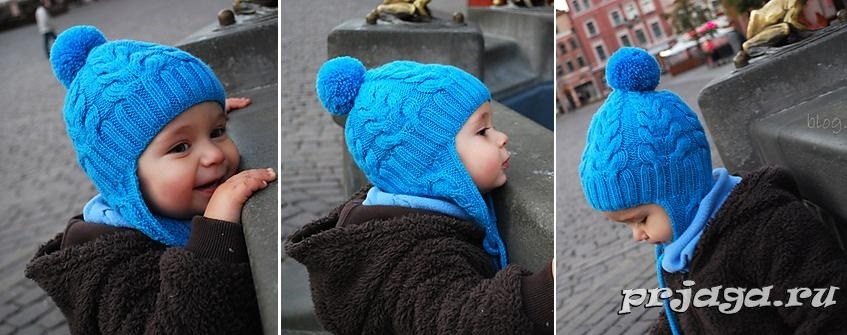 Схема вязания спицами детской шапки 017