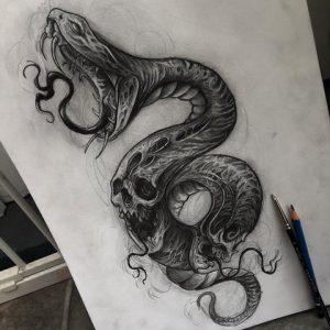 Тату эскиз черепа и змеи 003