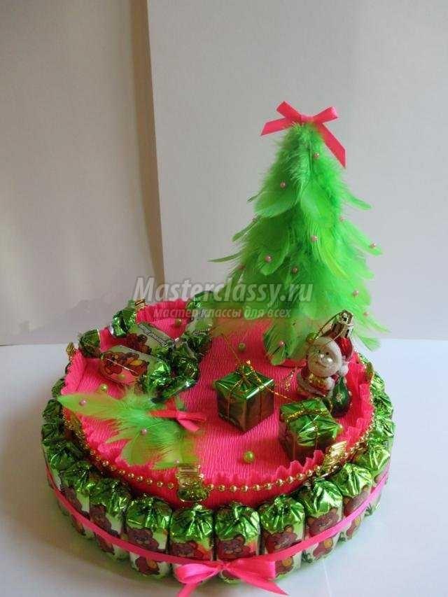 Торт на новый год из конфет своими руками 011
