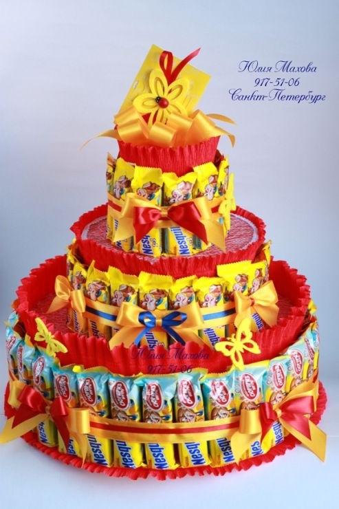 Торт на новый год из конфет своими руками 012