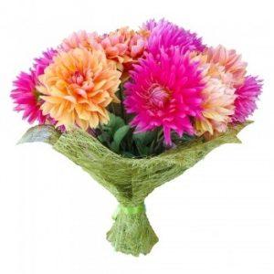 Фото букета цветов георгин 001