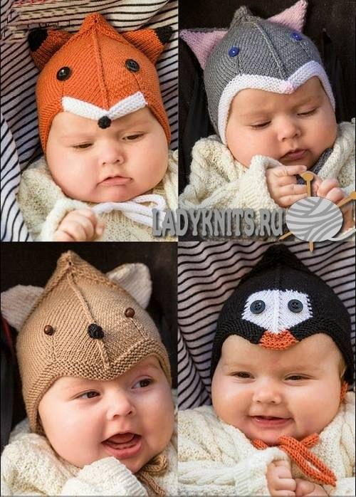 Фото детские шапки спицами 015