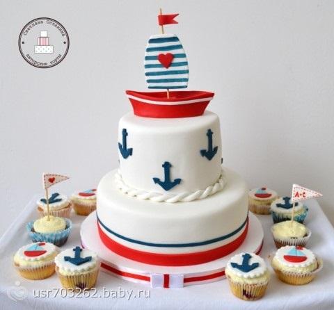 Фото детский торт в морском стиле 005