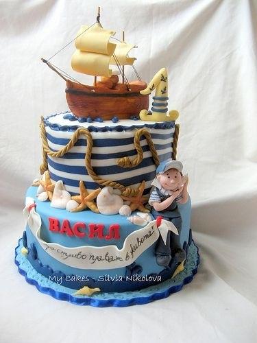 Фото детский торт в морском стиле 007
